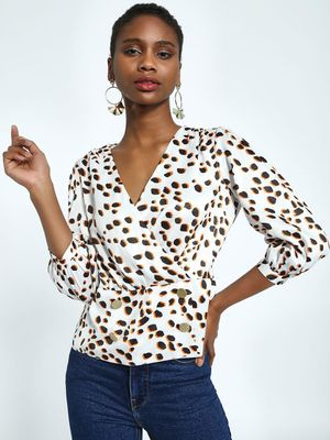 KOOVS Animal Spot Print Wrap Top