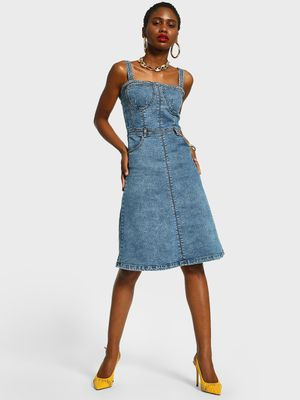 K Denim KOOVS Bustier Denim Midi Dress