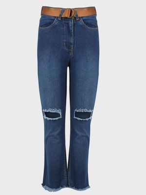 K Denim KOOVS Belted Washed Ripped-Knee Straight Jeans