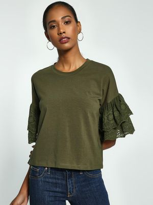 KOOVS Broderie Tier Sleeve Blouse