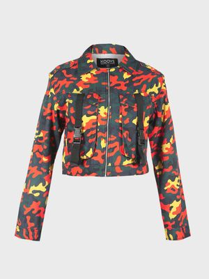 K Denim KOOVS Camo Utility Cropped Denim Jacket