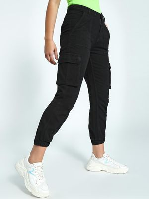 K Denim KOOVS Utility Pocket Cropped Denim Joggers