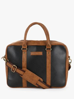 Tan Shades Contrast Panel Laptop Bag