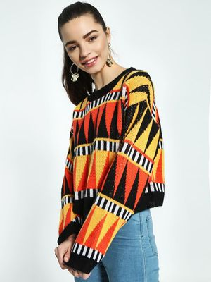 KOOVS Patterned Jacquard Crop Jumper