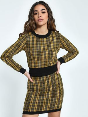 KOOVS Checked Woven Crop Jumper