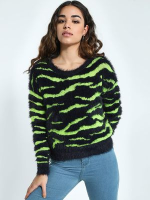 KOOVS Zebra Stripe Furry Jumper