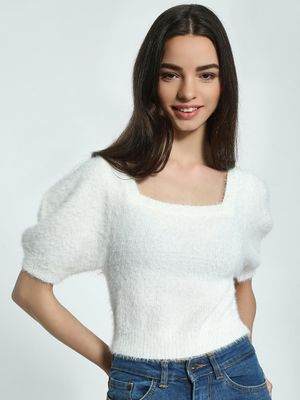 KOOVS Chenille Furry Crop Jumper