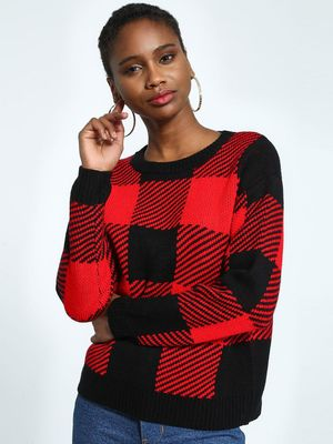 KOOVS Flecked Buffalo Check Jumper
