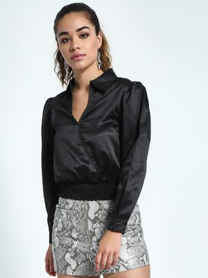 KOOVS Shirred Waist Collared Blouse