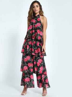 KOOVS Rose Chain Print Tiered Jumpsuit