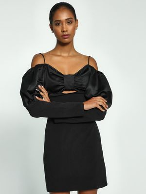 Ri-Dress Bow Mutton Sleeve Cold Shoulder Dress