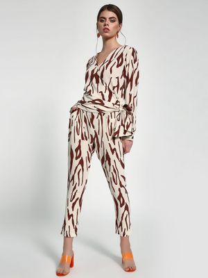 Closet Drama Abstract Zebra Stripe Paperbag Trousers
