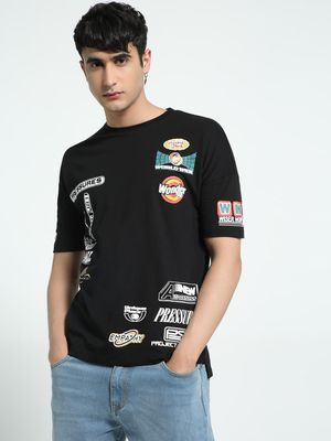 KOOVS Badge Print Boxy Fit T-Shirt