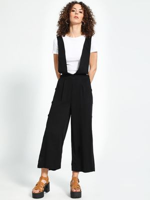 Trendyol Side-Button Flared Cropped Dungarees