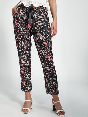 Trendyol Abstract Print High-Waist Cropped Trousers