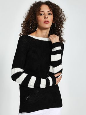 Trendyol Striped Sleeve Knitted Pullover