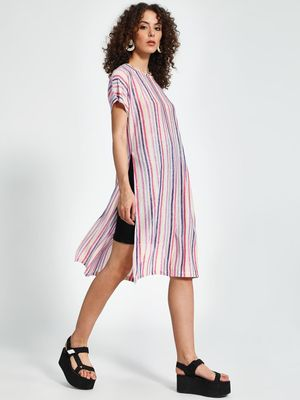 Trendyol Vertical Stripe Side-Split Tunic Top