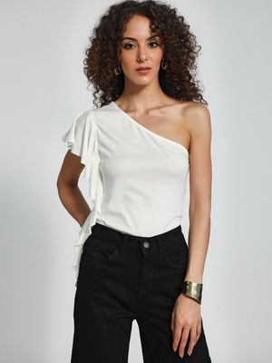 Trendyol One-Shoulder Ruffle Top