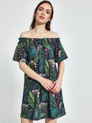 Trendyol Tropical Print Mini Off-Shoulder Dress