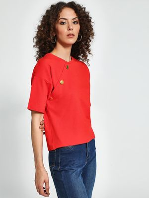 Trendyol Button Detail Round Neck T-Shirt