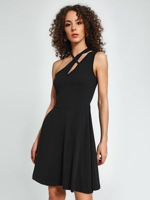 Trendyol Asymmetric Neck Mini Skater Dress