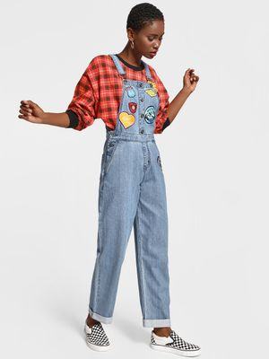 K Denim KOOVS Badge Applique Denim Dungarees
