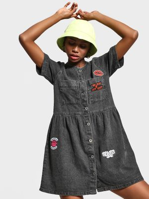 K Denim KOOVS Slogan Badge Applique Denim Dress