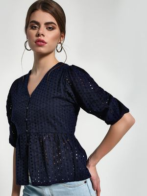 Sbuys Broderie V-Neck Peplum Blouse