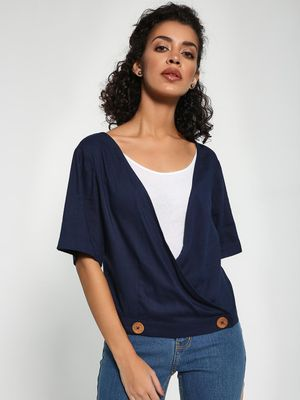 Sbuys Buttoned Hem Wrap Top