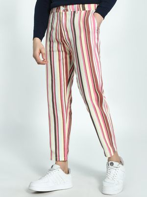 Spring Break Multi-Stripe Cropped Slim Trousers