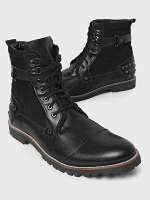 Bolt Of The Good Stuff Studded Tab Lace-Up Boots