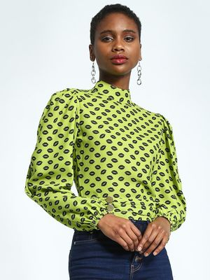 KOOVS Lips Print Pleated Hem Blouse