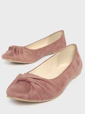 KOOVS Front Twisted Suede Ballerinas
