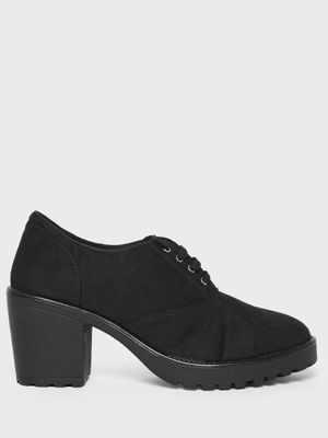 KOOVS Block Heeled Suede Derby Shoes