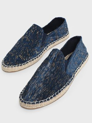 KOOVS Crinkled Gold Textured Espadrilles