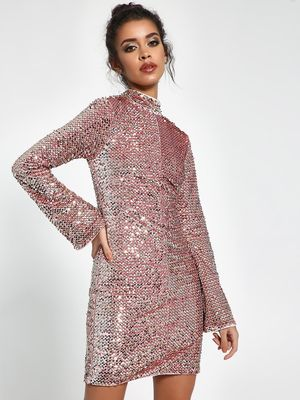 KOOVS Velour Sequin Shift Dress