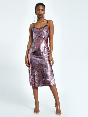 KOOVS Sequinned Cami Midi Dress