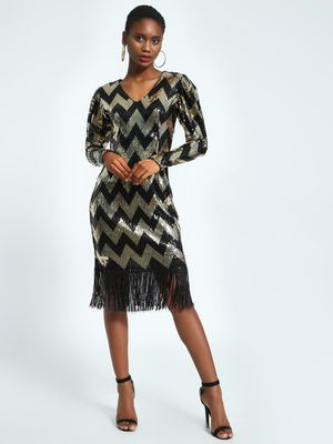 KOOVS Chevron Sequin Midi Dress