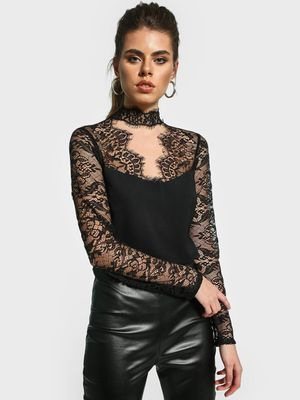 Missguided Eyelash Lace Panel Crop Top
