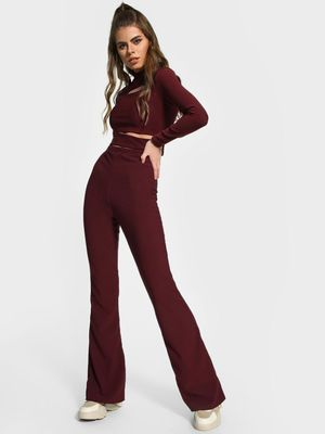 Missguided Ribbed Wide Leg Trousers