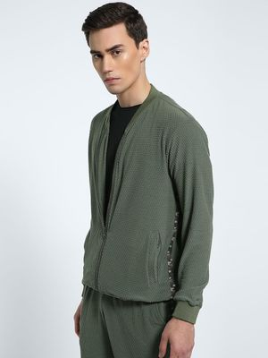 CHELSEA KING Side Tape Textured Bomber Jacket