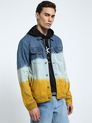 CHELSEA KING Washed Colour Block Denim Jacket