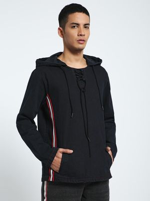 CHELSEA KING Contrast Shimmer Tape Denim Hoodie