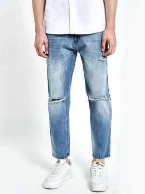 CHELSEA KING Light Wash Rip Cropped Slim Jeans
