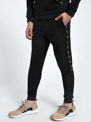 CHELSEA KING Eyelet Side Tape Slim Joggers