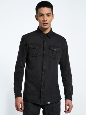 CHELSEA KING Twin Pocket Washed Jersey Shirt