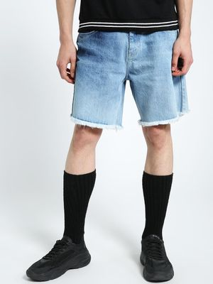 CHELSEA KING Frayed Hem Washed Denim Shorts