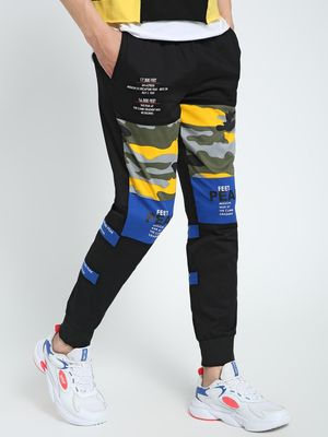 CHELSEA KING Camo Panel Text Print Joggers
