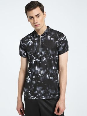 CHELSEA KING Abstract Print Zipper Polo Shirt