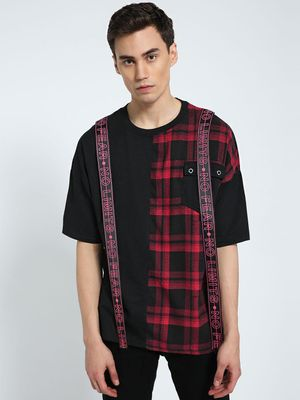 CHELSEA KING Check Cut & Sew Extended Tape T-Shirt